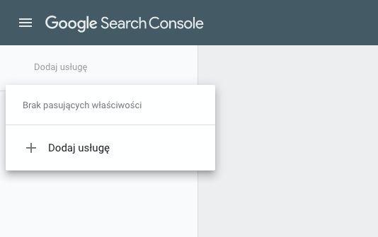 Dodawanie nowej usługi do Google Search Console