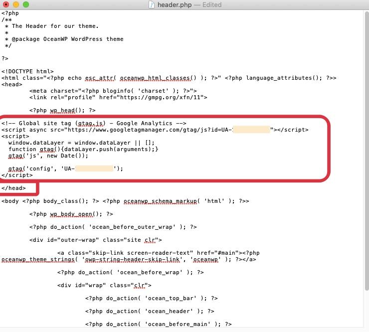 Wrzucanie kodu śledzenie do pliku header.php