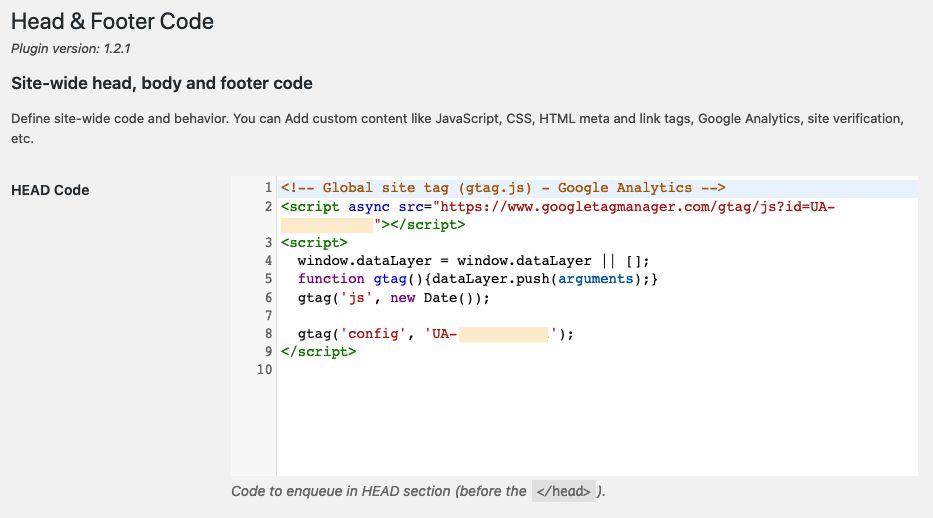 Podpięcie Google Analytics przez dodanie kodu śledzenia