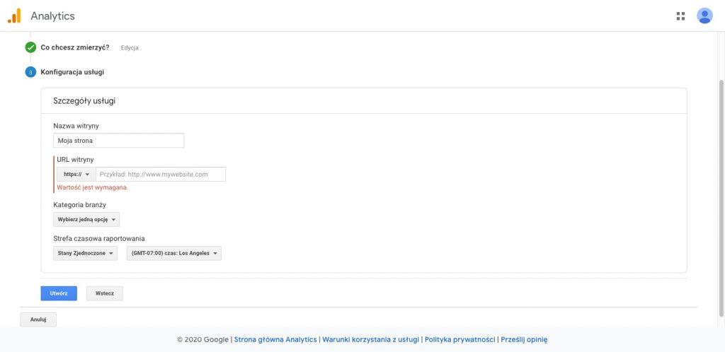 Nowe konto Google Analytics