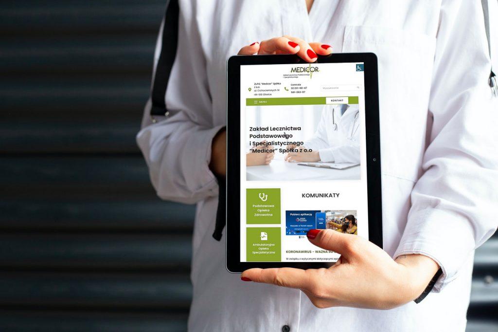 Strona www przychodni Medicor w Gliwicach
