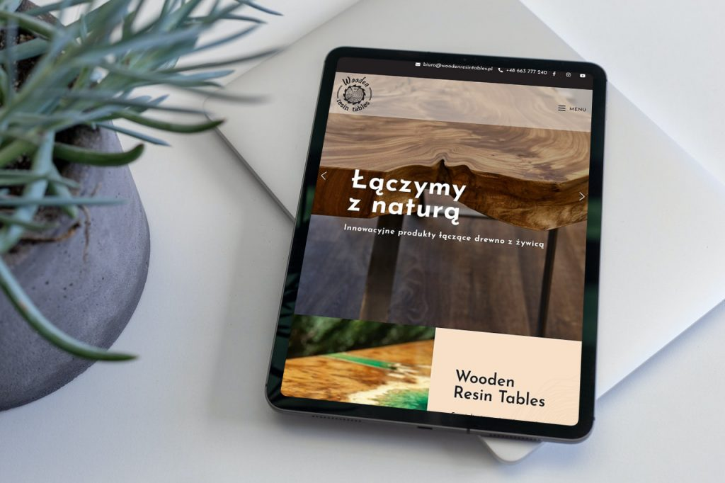Strona internetowa, portfolio Wooden Resin Tables